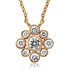 14K Yellow Gold .36 Pavé Diamond Flower Pendant