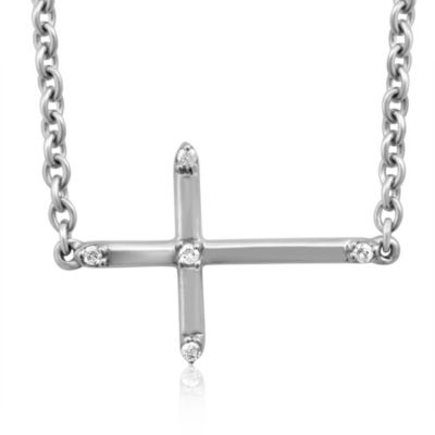 Violet and Sienna Sterling Silver Sideways Cross Pendant with .03 cttw Pave Diamonds