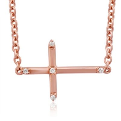 Violet and Sienna Rose Colored Sterling Silver Sideways Cross Pendant with Pave Diamonds