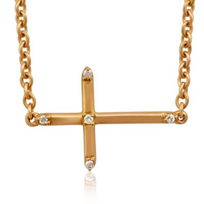 Violet and Sienna Yellow Gold Plated Sideways Cross Pendant with.03 cttw Pave Diamonds