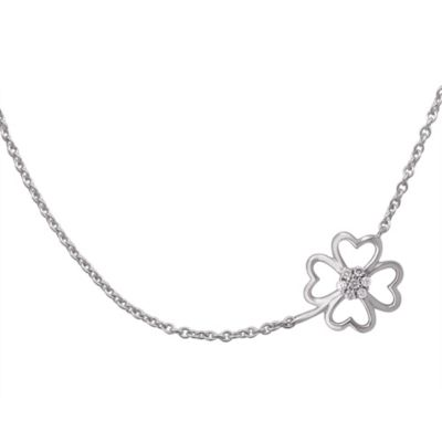 Violet and Sienna Sterling Silver 0.07 cttw Diamond Clover Pendant