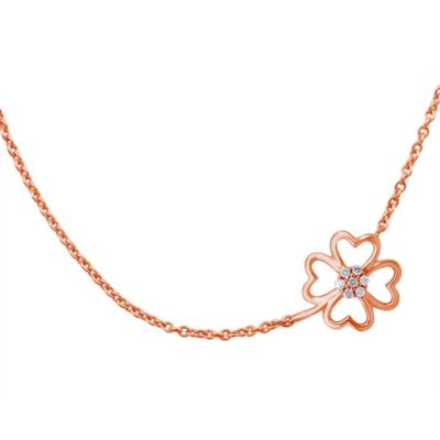 Violet and Sienna 14K Rose Gold Plated Sterling Silver .07 cttw Diamond Clover Pendant