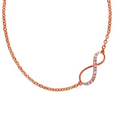 Violet and Sienna 14K Rose Gold-Plated Sterling Silver .07 cttw Diamond Infinity Pendant