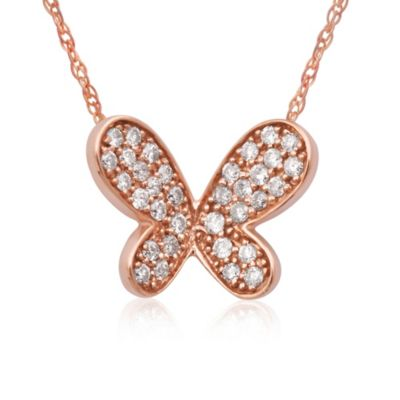 Violet and Sienna 14K Rose Gold .17 cttw Diamond Butterfly Pendant
