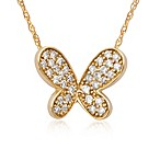Violet and Sienna 14K Yellow Gold 0.17 Diamond Butterfly Pendant