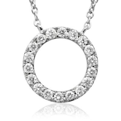 Violet and Sienna 14K White Gold .25 cttw Diamond Open Circle Pendant