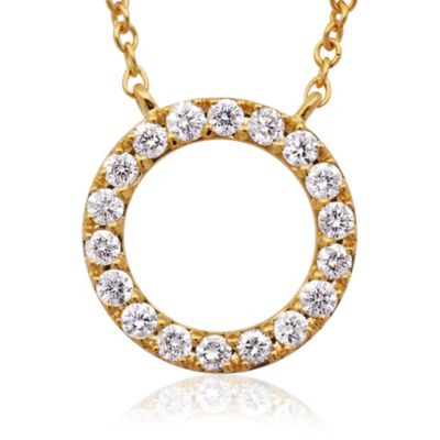 Violet and Sienna 14K Yellow Gold .25 cttw Diamond Open Circle Pendant