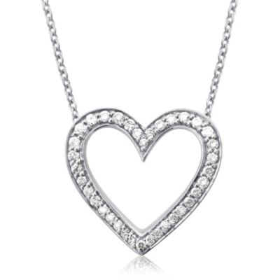 Violet and Sienna 14K White Gold 0.25 cttw Diamond Open Heart Pendant