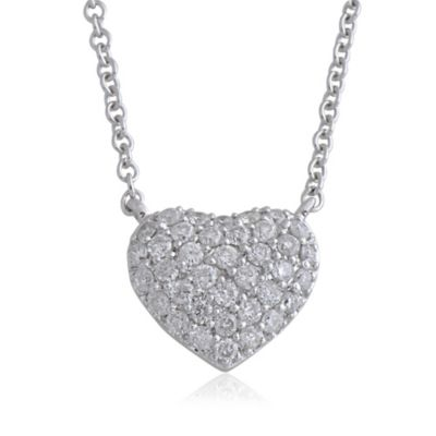 Violet and Sienna 14K White Gold .27 cttw Pave Diamond Small Heart Pendant