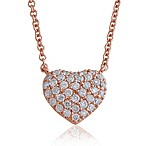 Violet and Sienna .27 cttw Pave Diamond Small Heart Pendant in Rose Gold