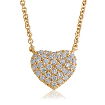 Violet and Sienna 14K Yellow Gold .27 cttw Pave Diamond Small Heart Pendant