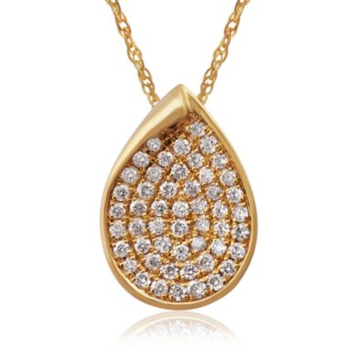 Violet and Sienna 14K Yellow Gold .20 cttw Pave Diamond Teardrop Pendant