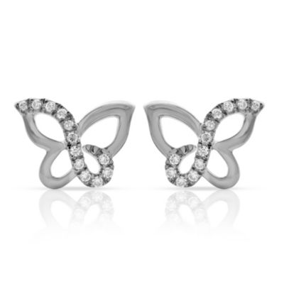 Violet and Sienna White-Colored Sterling Silver .090 cttw Diamond Butterfly Stud Earrings