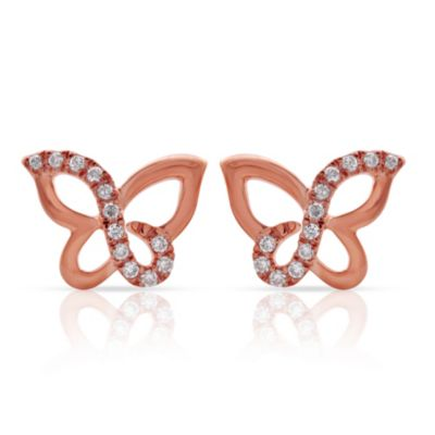 Violet and Sienna 14K Rose Gold Plated Sterling Silver .09 cttw Diamond Butterfly Stud Earrings