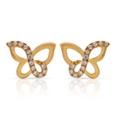 Violet and Sienna 14K Yellow Gold Plated Sterling Silver .09 cttw Diamond Butterfly Stud Earrings