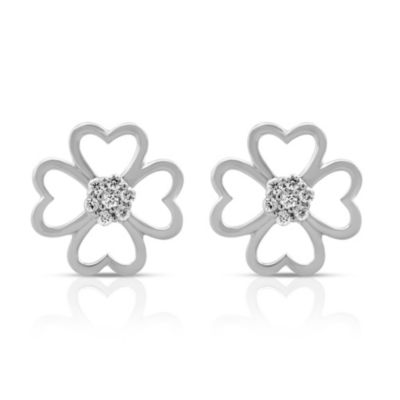 Violet and Sienna White-Colored Sterling Silver .080 cttw Diamond Clover Earring Studs