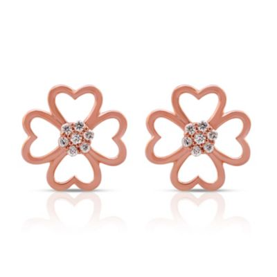 Violet and Sienna 14K Rose Gold Plated Sterling Silver .08 cttw Diamond Clover Stud Earrings