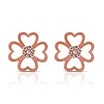 Violet and Sienna Rose-Colored Sterling Silver, .080 cttw Diamond Clover Earring Studs