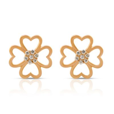 Violet and Sienna 14K Yellow Gold Plated Sterling Silver .08 cttw Diamond Clover Stud Earrings