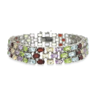 Sterling Silver 3-Tiered Oval Multi-Gemstone Bracelet
