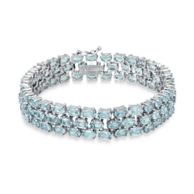 Sterling Silver 3-Tiered Oval Topaz Gemstone Bracelet