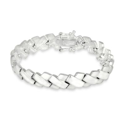 "Brushed and Polished Sterling Silver ""X"" Bracelet"