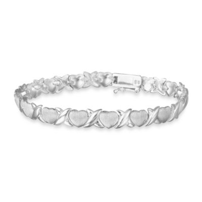 "Brushed and Polished Sterling Silver ""X""/ Heart Bracelet"