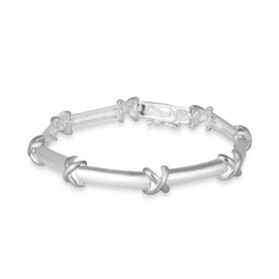 "Sterling Silver ""X"" Link Bracelet"