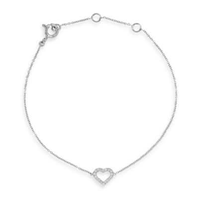14K White Gold 0.06 cttw Diamond Heart Bracelet