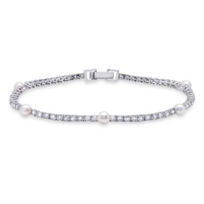 CRISLU Freshwater Cultured Pearl and Cubic Zirconia Tennis Bracelet