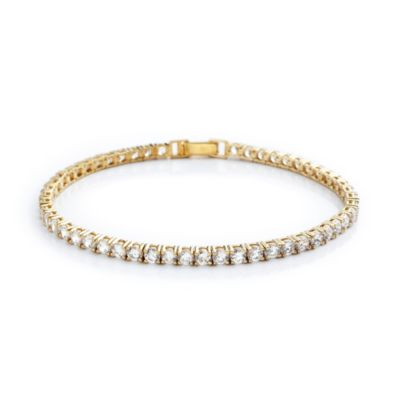 CRISLU 9.0 cttw Cubic Zirconia Tennis Bracelet in Sterling Silver and Yellow Gold Vermeil