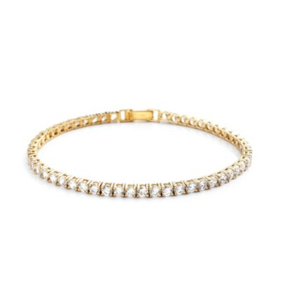CRISLU 5.2 cttw Cubic Zirconia Tennis Bracelet in Sterling Silver and Yellow Gold Vermeil