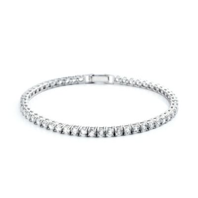 CRISLU 5.2 cttw Cubic Zirconia Tennis Bracelet in Sterling Silver and Platinum