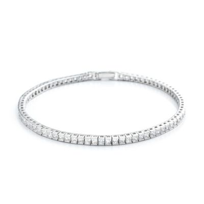 CRISLU 3.8 cttw Cubic Zirconia Tennis Bracelet in Sterling Silver and Platinum