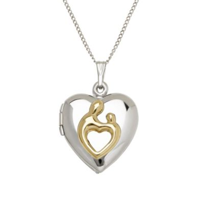 Mother & Child Two-Tone Heart Locket on Curb Chain in Sterling Silver