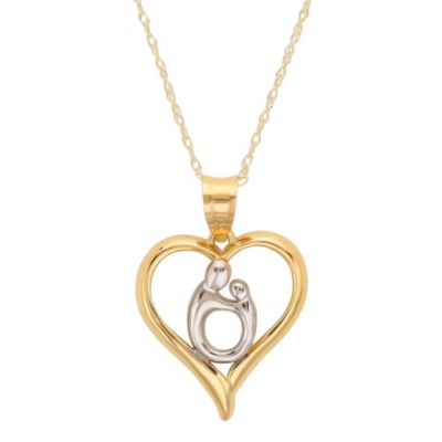 Mother and Child® 10K Yellow Gold and Sterling Silver Heart Shaped Pendant