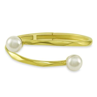 Majorica Hinged Bangle Bracelet with 12MM White Simulated Pearls in 18K Gold Vermeil