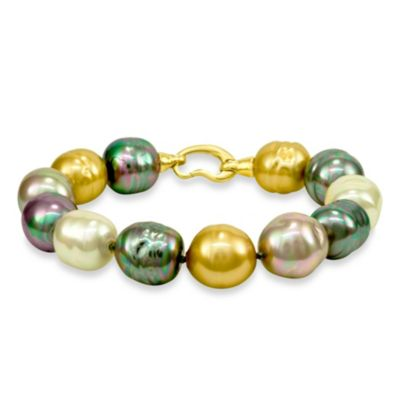 Majorica 14mm Multicolored Baroque Pearl Bracelet with 18K Gold Vermeil Clasp