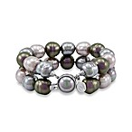 Majorica 2 Row 12MM Multicolored Baroque Pearl Bracelet with Sterling Silver Clasp
