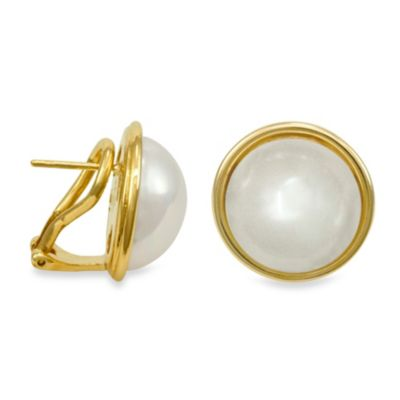Majorica 14MM White Mabe Simulated Pearl Earrings in 18K Gold Vermeil