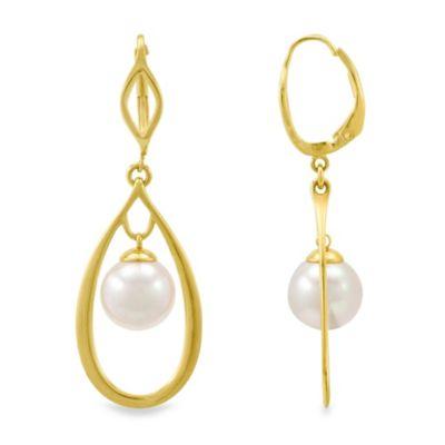 Majorica 10MM White Simulated Pearl Drop Earrings in 18K Gold Vermeil