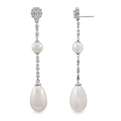 Majorica Pearl and Cubic Zirconia Linear Earrings in Sterling Silver