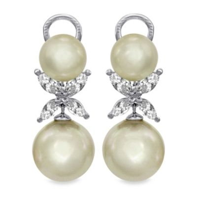 Majorica 9 and 12MM White Round Pearl Butterfly Drop Earrings in Sterling Silver