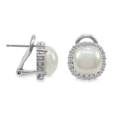 Majorica 9MM White Mabe Simulated Pearl Earrings with CZ Jacket