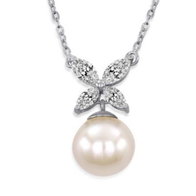 Majorica 8MM Round White Pearl and CZ Butterfly Pendant