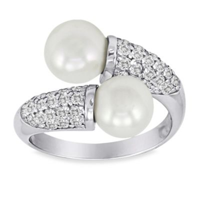 Majorica 8MM White Simulated Pearl and CZ Ring in Sterling Silver