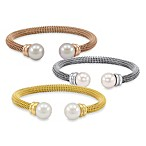 Majorica Stainless Steel Bangle Bracelet with 12MM White Pearls
