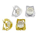 Majorica 10MM Round White Pearl Ribbon Clip-On Earrings
