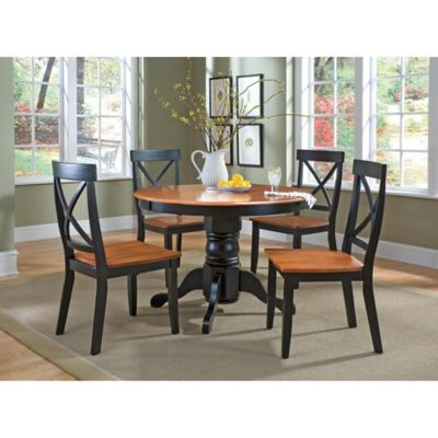 Home Styles Solid Wood 5-Piece Pedestal Table Dining Set in Black and Cottage Oak Finish