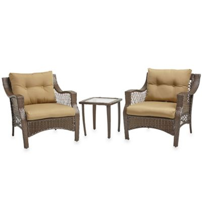 Stratford 3-Piece Wicker Chair Set in Tan
